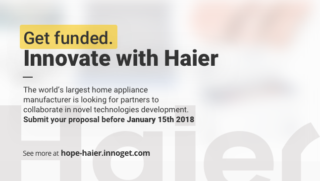 Get funded! Haier seeking for partners to collaborate in novel technologies development